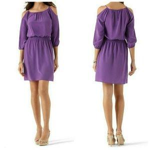 WHBM Purple Silk Cold Shoulder Dress sz S